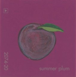 """Summer Plum,"" acrylic on commercial paint chip, 2 x 2in, 2017"