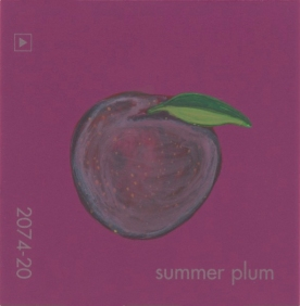 """""""Summer Plum,"""" acrylic on commercial paint chip, 2 x 2in, 2017"""