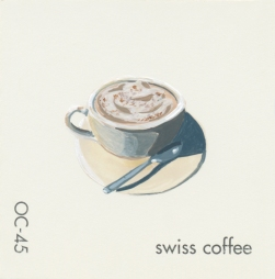 """""""Swiss Coffee,"""" acrylic on commercial paint chip, 2x2in, 2017"""