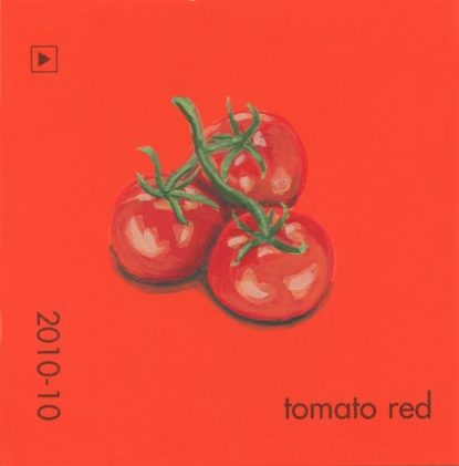 """""""Tomato Red II,"""" acrylic on commercial paint chip, 2x2in, 2017"""