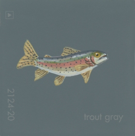 """""""Trout Gray,"""" acrylic on commercial paint chip, 2x2in, 2017"""