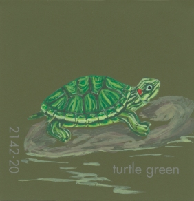 """""""Turtle Green,"""" acrylic on commercial paint chip, 2x2in, 2017"""