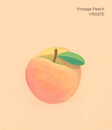 """""""Vintage Peach,"""" acrylic on commercial paint chip, 3.5 x 3in, 2017"""
