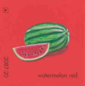 """""""Watermelon Red,"""" acrylic on commercial paint chip, 2x2in, 2017"""