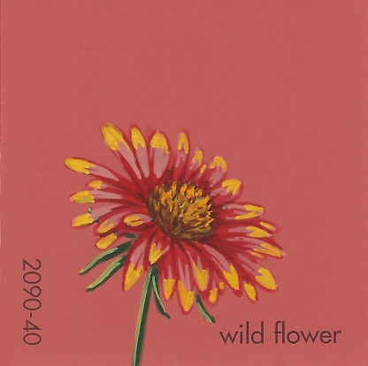 """""""Wild Flower,"""" acrylic on commercial paint chip, 2x2in, 2017"""