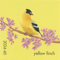 """""""Yellow Finch,"""" acrylic on commercial paint chip, 2x2in, 2017"""