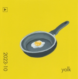 """Yolk II,"" acrylic on commercial paint chip, 2x2in, 2017"