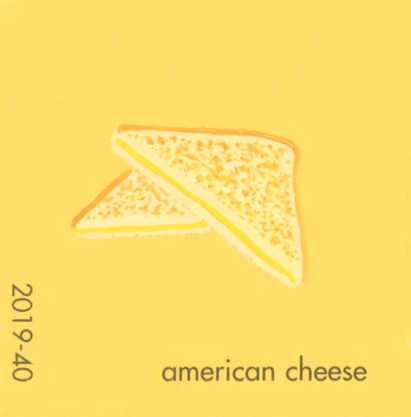 """""""American Cheese,"""" acrylic on commercial paint chip, 2 x 2in, 2016"""