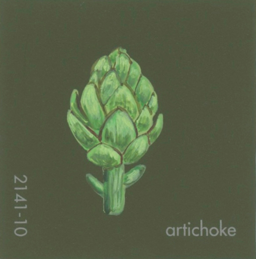"""""""Artichoke,"""" acrylic on commercial paint chip, 2 x 2in, 2016"""