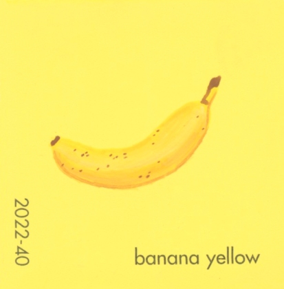 """""""Banana Yellow,"""" acrylic on commercial paint chip, 2 x 2in, 2016"""