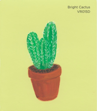 """""""Bright Cactus,"""" acrylic on commercial paint chip, 3.5 x 3in, 2016"""