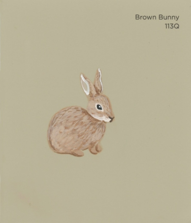 """""""Brown Bunny,"""" acrylic on commercial paint chip, 3.5 x 3in, 2016"""