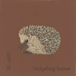 """""""Hedgehog Brown,"""" acrylic on commercial paint chip, 2 x 2in, 2016"""