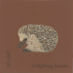 """Hedgehog Brown,"" acrylic on commercial paint chip, 2 x 2in, 2016"