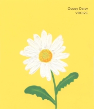"""""""Oopsy Daisy,"""" acrylic on commercial paint chip, 3.5 x 3in, 2016"""