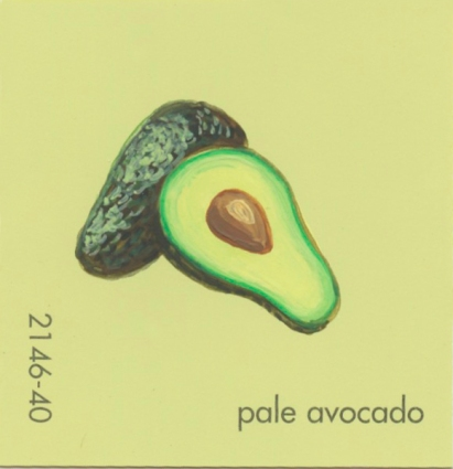"""""""Pale Avocado,"""" acrylic on commercial paint chip, 2 x 2in, 2016"""