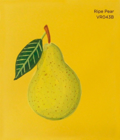 """""""Ripe Pear,"""" acrylic on commercial paint chip, 3.5 x 3in, 2016"""