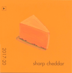 """Sharp Cheddar,"" acrylic on commercial paint chip, 2 x 2in, 2016"