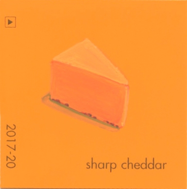 """""""Sharp Cheddar,"""" acrylic on commercial paint chip, 2 x 2in, 2016"""