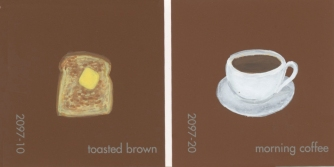 """""""Toasted Brown & Morning Coffee (Breakfast),"""" acrylic on commercial paint chips, 2 x 5in, 2016"""