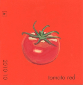 """""""Tomato Red,"""" acrylic on commercial paint chip, 2 x 2in, 2016"""