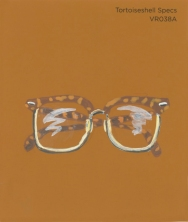 """""""Tortoiseshell Specs,"""" acrylic on commercial paint chip, 3.5 x 3in, 2016"""