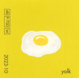 """""""Yolk,"""" acrylic on commercial paint chip, 2 x 2in, 2016"""